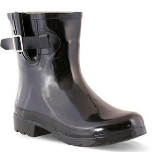 NWOT Nomad Footwear Rain Booties Shiny Black Sz 11